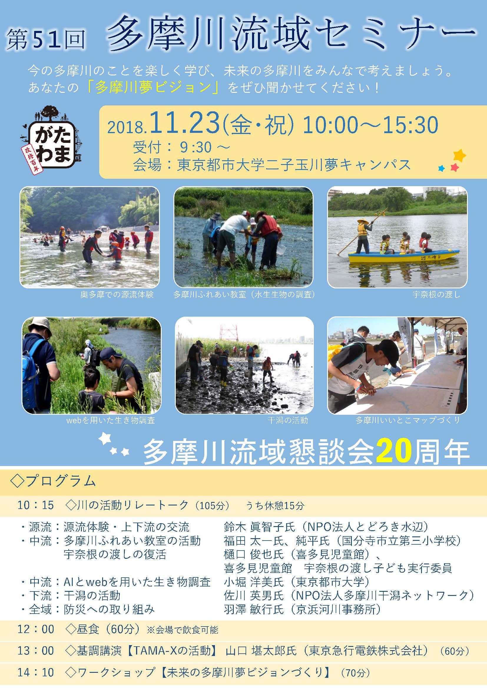 第51回 多摩川流域セミナー「未来の多摩川夢ビジョンづくり」