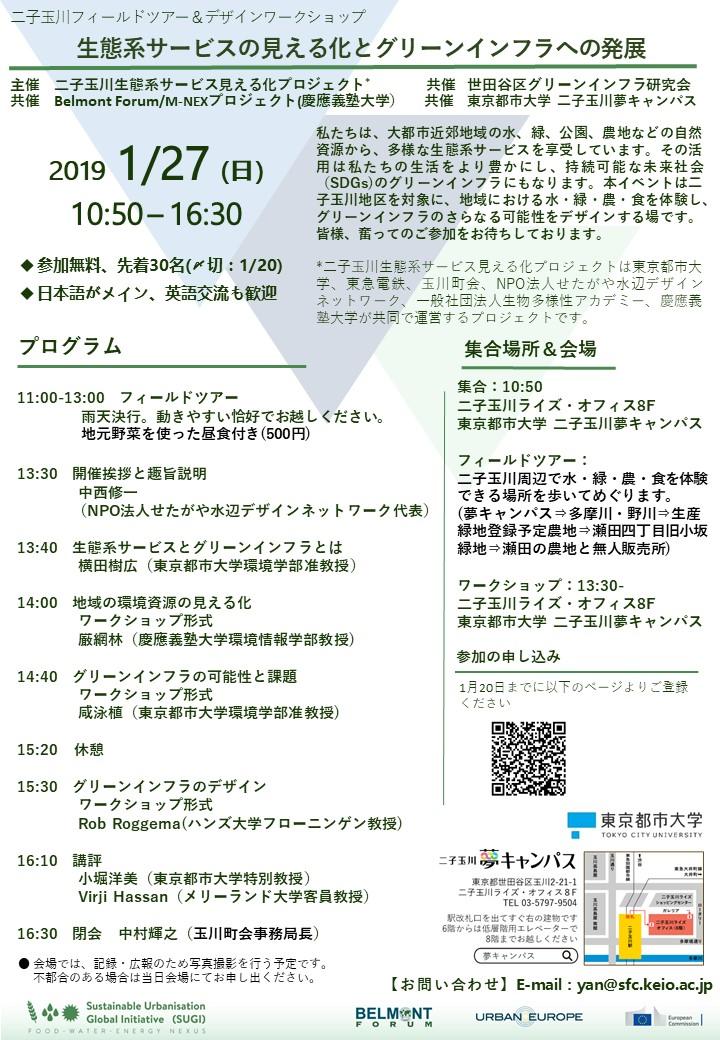二子玉川フィールドツアー&デザインワークショップ「生態系サービスの見える化とグリーンインフラへの発展」